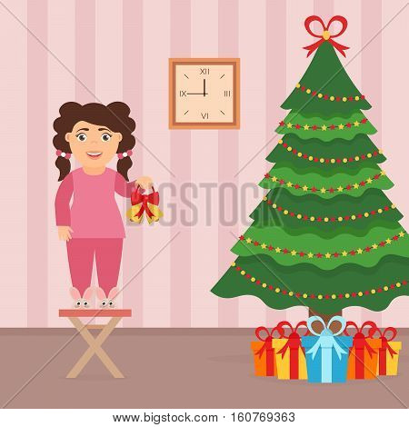 Christmas vector illustration. Cute beautiful girl standing on a chair near the Christmas Tree. Room interior in flat style.