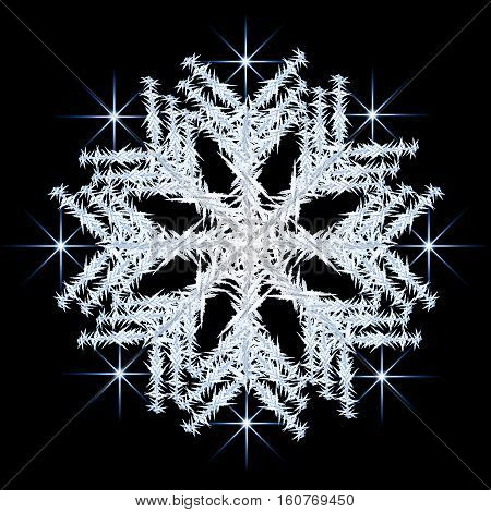 illustration with scene of the snowflake from needles rime on black background