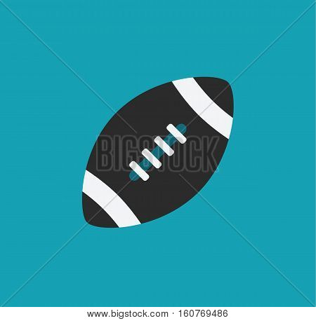 Oval ball football rugby blue design flat icon vector stock
