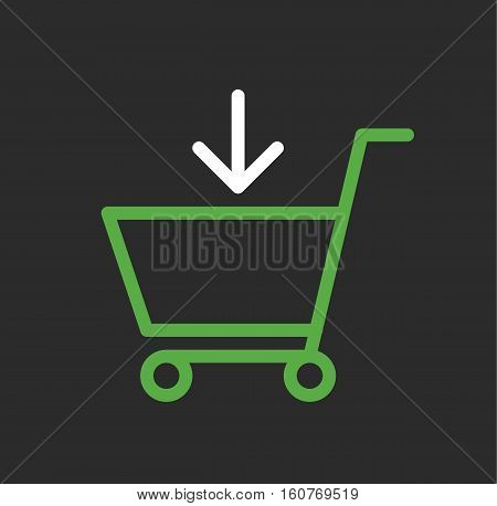 Shopping cart green white isolated logo icon vector stock