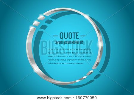 Shiny glossy of metal 3d banner. Round shape for messages or quotes. Vector illustration