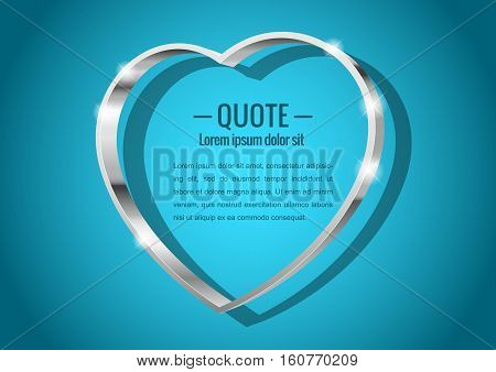 Shiny glossy of metal 3d banner. In the shape of a heart for messages or quotes. Vector illustration