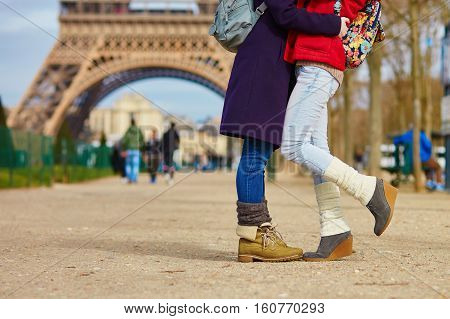 Closeup Of Female Legs, Two Girls Hugging In Paris