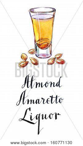 Wineglass of almond liquor amaretto,  hand drawn - watercolor Illustration