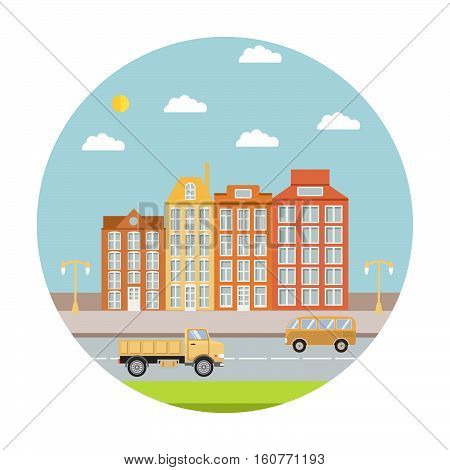 Vector a flat city landscape summer day with houses and the road with truck and the van. Elemen of design of the website, infographics, banners, leaflets, flyers. Urban landscape.Creative background
