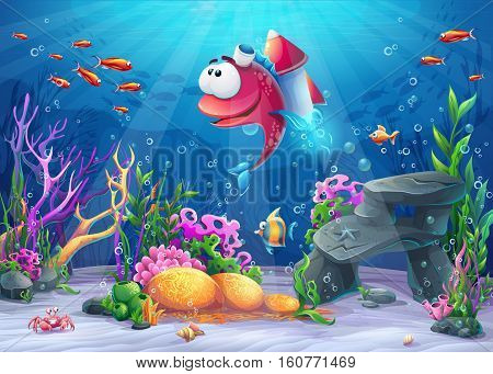 Undersea fish with rocket. Marine Life Landscape - the ocean and the underwater world with different inhabitants. For design websites and mobile phones printing.