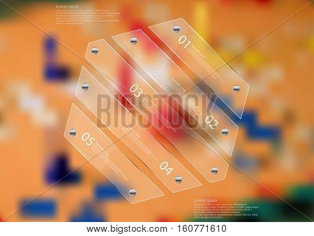 Illustration infographic template with motif of glass hexagon askew divided to five sections. Blurred photo with ludo motif is used as background with game board and few dices.