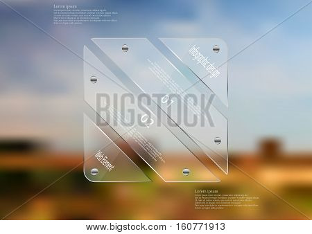 Illustration infographic template with motif of glass rectangle askew divided to four sections. Blurred photo with natural motif is used as background blue cloudy sky and field.