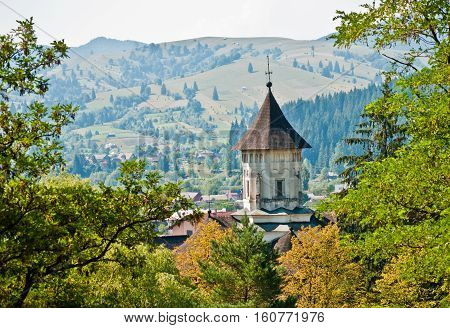View from the top to the Monastery of Moldova, Suceava, Romania