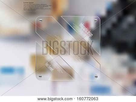 Illustration infographic template with motif of glass rectangle askew divided to three sections. Blurred photo with financial motif is used as background with coins charts pies and calculator.