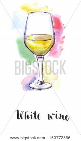 Wineglass of white wine hand drawn - watercolor Illustration