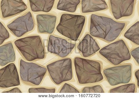 Vector seamless texture stonewall in gray colors.