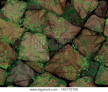 Vector seamless texture brown stonewall covered moss.