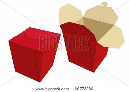 Beige Red Paper Container Of Chinese Food. Storage Box Delivery. Vector