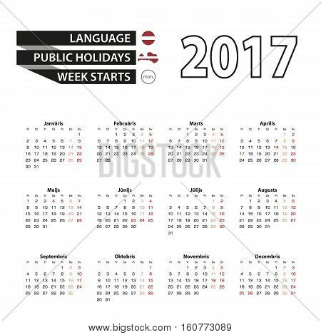Calendar 2017 On Latvian Language. With Public Holidays For Latvia In Year 2017. Week Starts From Mo