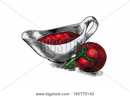Drawing of sauce boat with red tomato sauce and whole fresh tomato