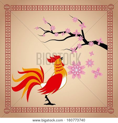 year rooster chinese calendar sakura flower vector illustion eps 10