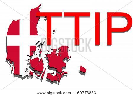 Ttip - Transatlantic Trade And Investment Partnership On Denmark Map