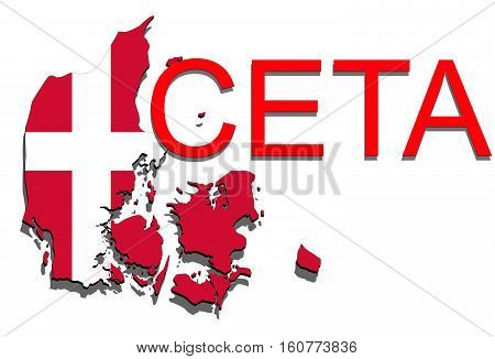 Ceta - Comprehensive Economic And Trade Agreement On White Background, Denmark Map