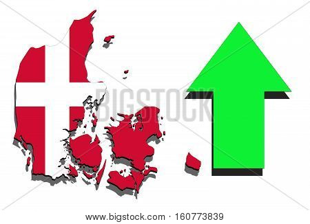 Denmark Map On White Background With Green Arrow Up