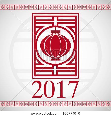chinese new year 2017 red lantern greeting vector illustion eps 10