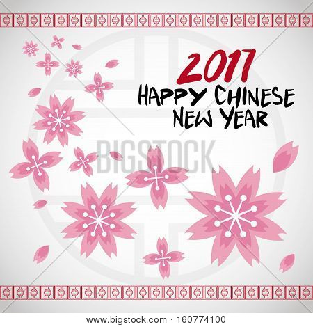 chinese new year 2017 flower traditional card vector illustion eps 10
