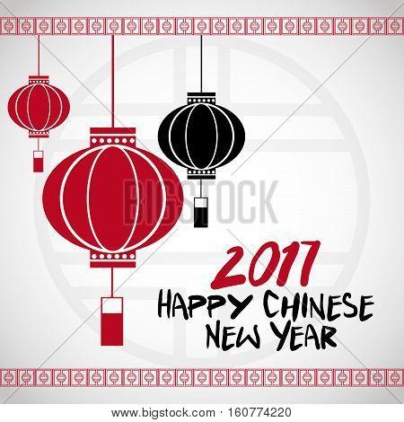 chinese new year 2017 lanterns white bakcground vector illustion eps 10