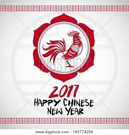 chinese new year 2017 with rooster red frame vector illustion eps 10