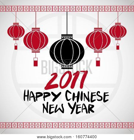 chinese new year 2017 hanging lantern greeting vector illustion eps 10