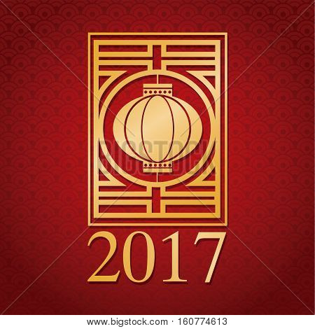 chinese new year 2017 gold lantern vector illustion eps 10