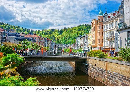 Bridge And Promenade In Karlovy Vary