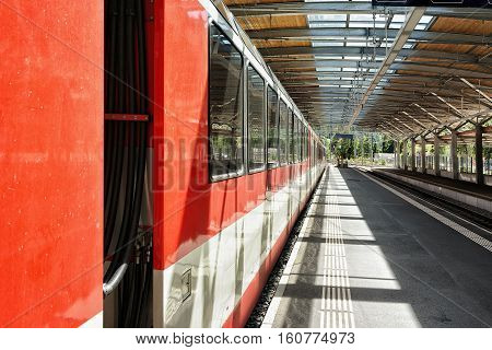 Concourse And Train At Railway Train Station Of Zermatt Switzerland