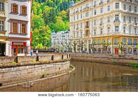 Embankment At The Tepla River Of Karlovy Vary