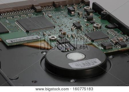 Computer hard disc opened in macro detail