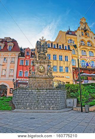 Holy Trinity Column At Market Square In Karlovy Vary