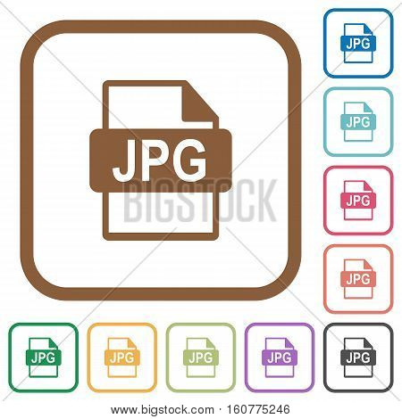 JPG file format simple icons in color rounded square frames on white background