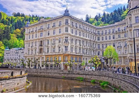 Luxury Grand Hotel Pupp And Embankment At River Tepla