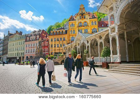 People At Market Colonnade Of Karlovy Vary Czech Republic