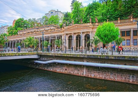 People At Mill Colonnade In Karlovy Vary In Czech Republic