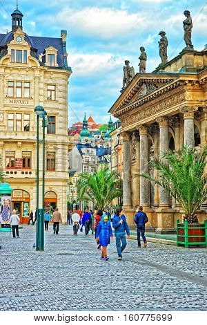 People At Mill Colonnade In Karlovy Vary