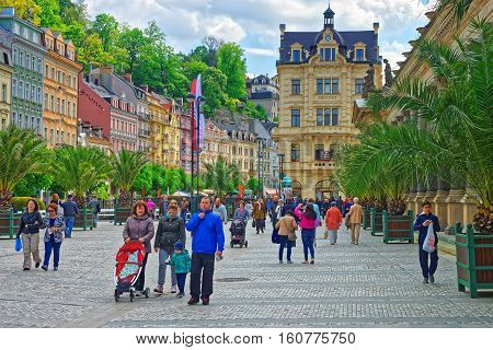People At Promenade With Mill Colonnade In Karlovy Vary