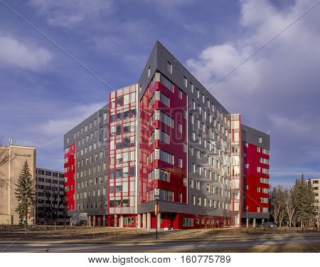 CALGARY, CANADA - NOV 26: New residence building located at the University of Calgary Campus on November 26, 2016. The University of Calgary is one of the larger universities in Canada.