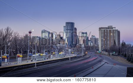CALGARY, CANADA - DEC 3: Sweeping skyline view at sunrise on December 3, 2016 in Calgary, Alberta. Calgary is home to many oil companies.