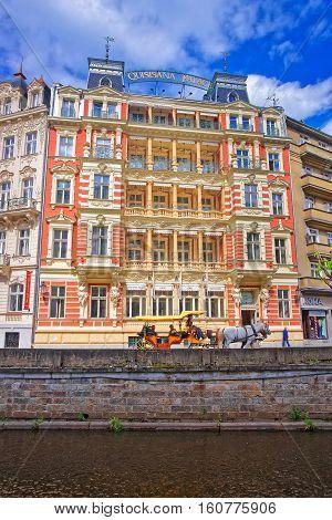 Promenade At Tepla River Karlovy Vary Czech Republic