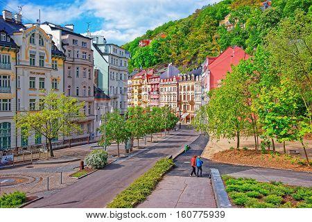 Promenade At Historical Street Of Karlovy Vary