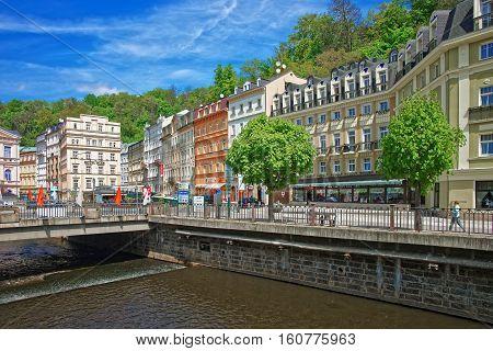 Promenade Street Above Tepla River Karlovy Vary
