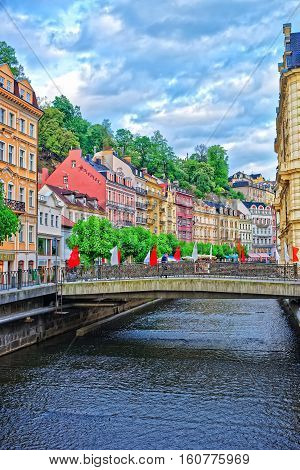 Promenade At The Tepla River Of Karlovy Vary