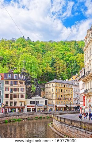 River Tepla And Promenade In Karlovy Vary Czech Republic