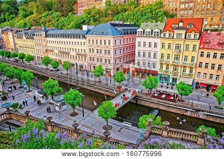 Roof Top View Of Promenade In Karlovy Vary Czech Republic