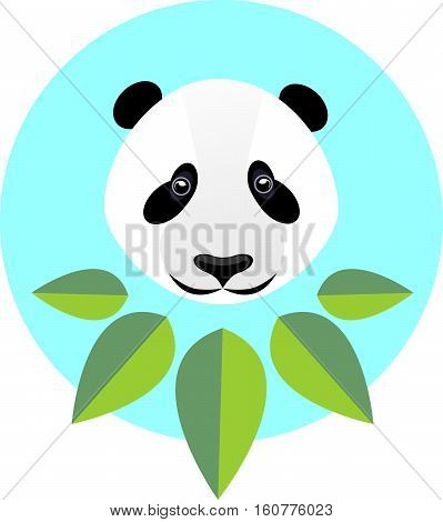 Cute panda in flat style. Fashion illustration of a panda in green leaves the trend in style on a blue background.